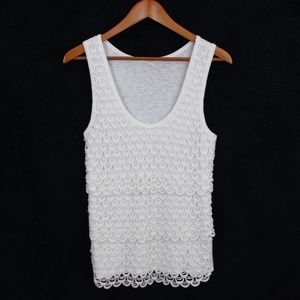 J. Crew White Scalloped Layered Tank Top